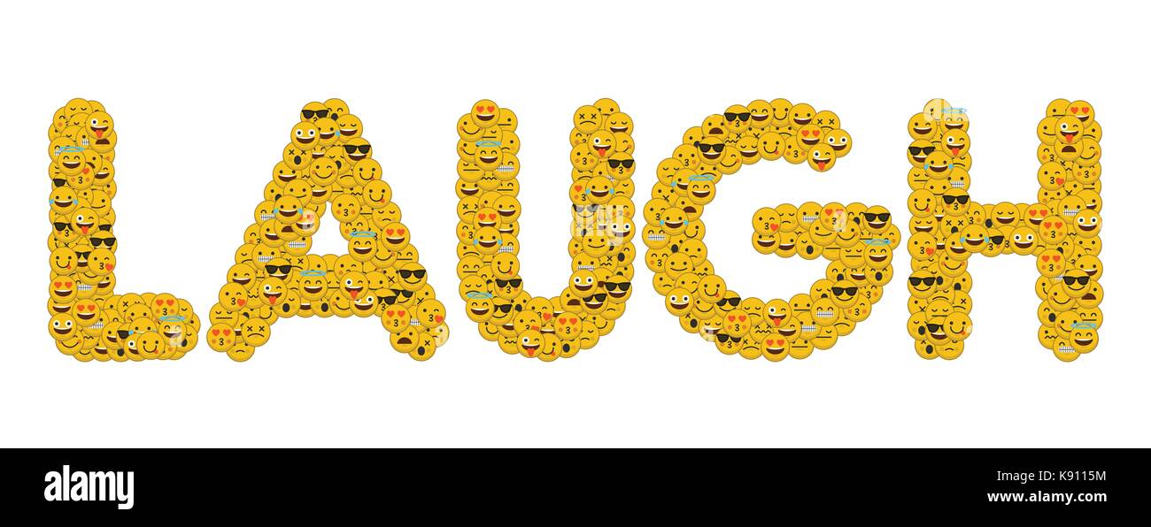 The Word Laugh Written In Social Media Emoji Smiley Characters Stock