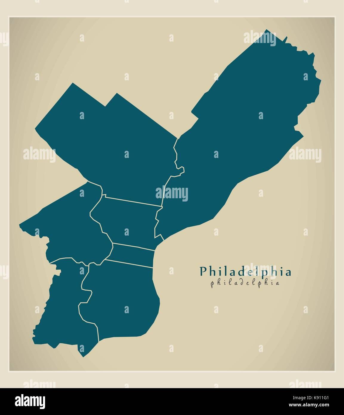 Modern City Map Philadelphia City Of The USA With Boroughs Stock - Philadelphia usa map