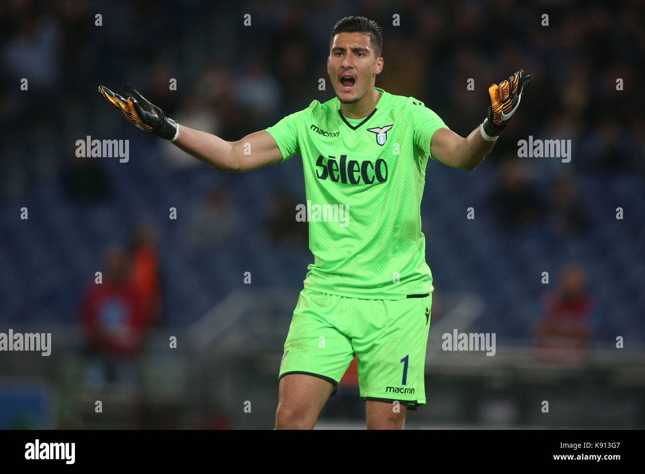 Italy, Rome, September 20, 2017:Strakosha in action during the football match Serie A Lazio vs Napoli in Olimpic - Stock Image