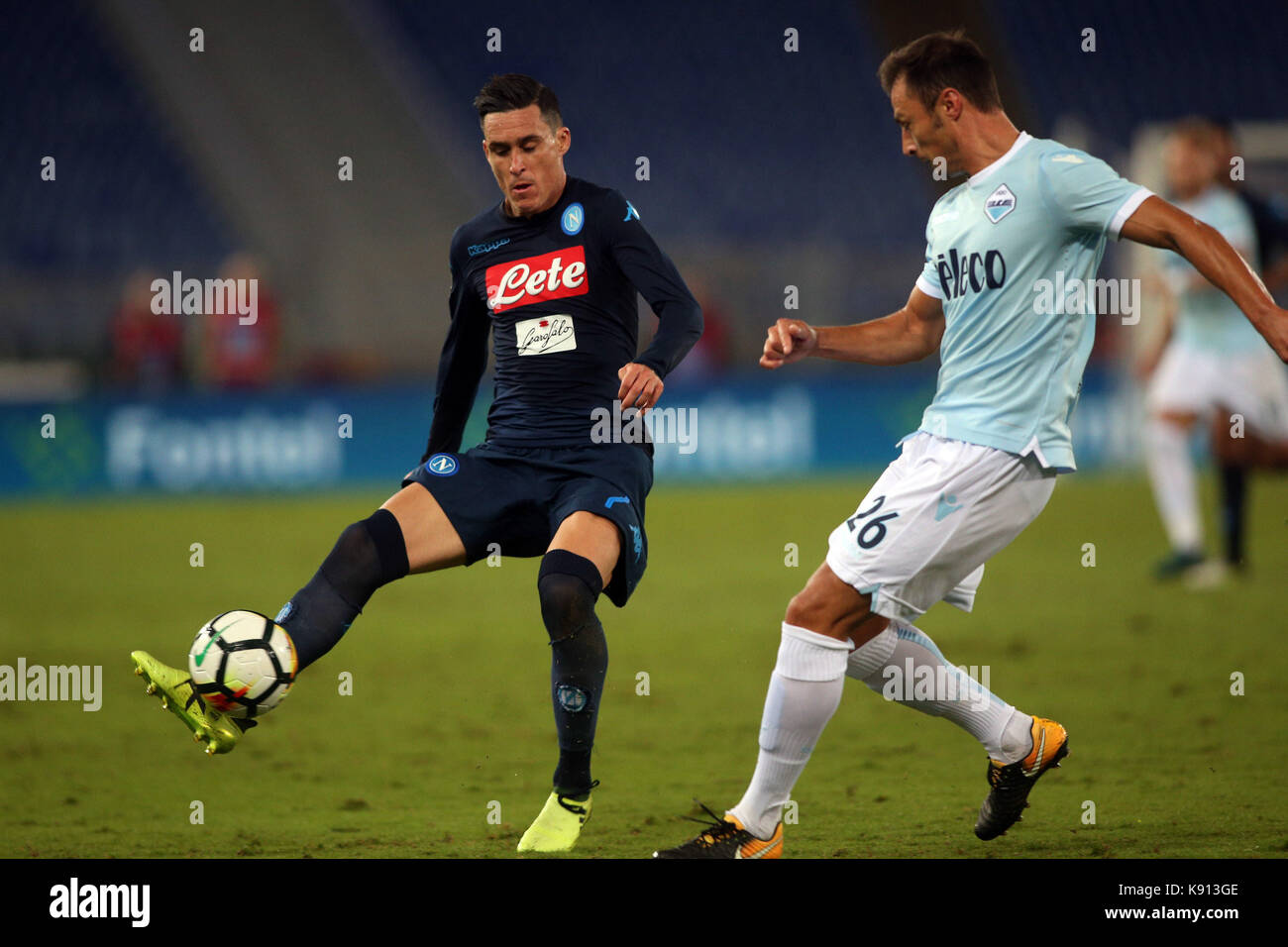 Italy, Rome, September 20, 2017:Hamsik in action during the football match Serie A Lazio vs Napoli in Olimpic Stadium - Stock Image