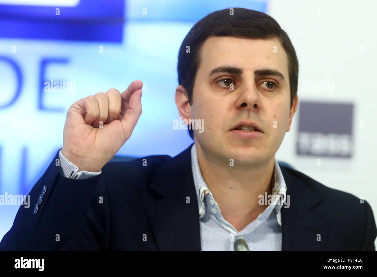 Moscow, Russia. 21st Sep, 2017. The founder of the CSKA Fans Against Racism initiative, Robert Ustyan, at a press - Stock Image