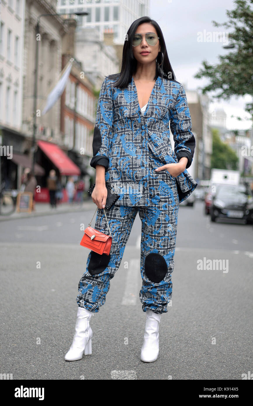 Street Style From Day Two Of London Fashion Week Spring Summer 2018 Stock Photo 160451037 Alamy