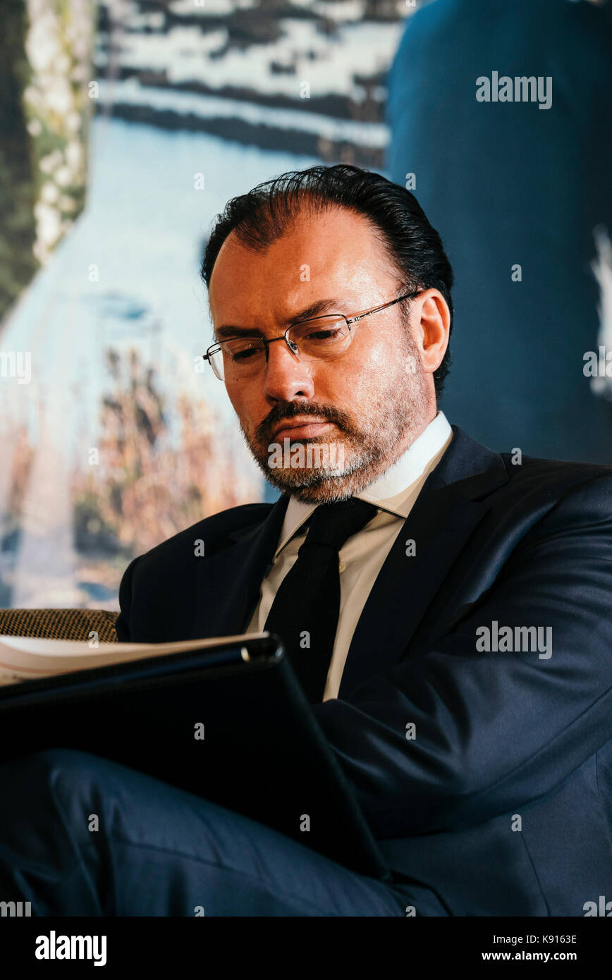 Canciller Luis Videgaray of Mexico speakers at the CEO Investment Summit of The Pacific Alliance during UNGA - Stock Image