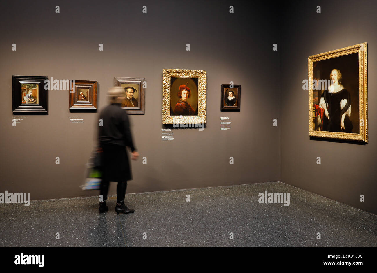 "Hamburg, Germany. 21st Sep, 2017. Two women admiring paintings at the exhibition ""The Birth of the Art Market. Rembrandt, Stock Photo"