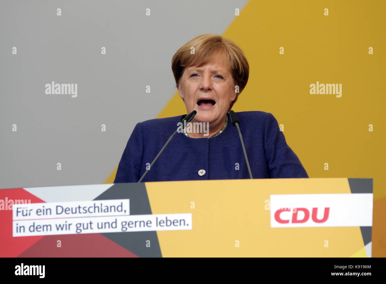 Giessen, Germany. 21st September, 2017. Angela Merkel, Chancellor of Germany holds an election campaign speech as - Stock Image