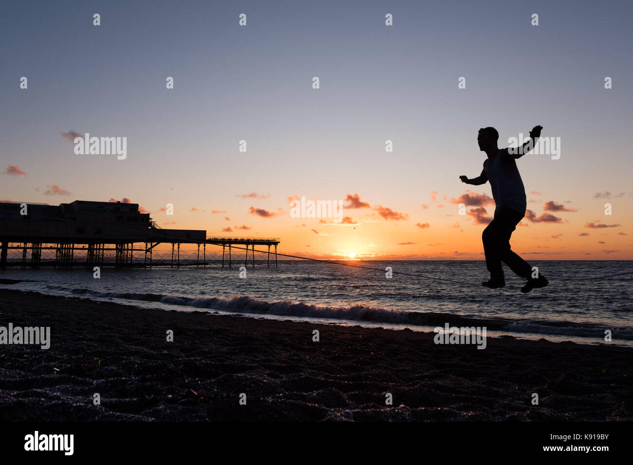 Aberystwyth Wales UK, Thursday 21 September 23017 UK Weather: On the eve of the Autumn Equinox, JESSE STUCK, a 3rd - Stock Image