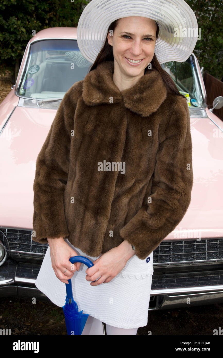 Woman in Furs and mini dress - Stock Image