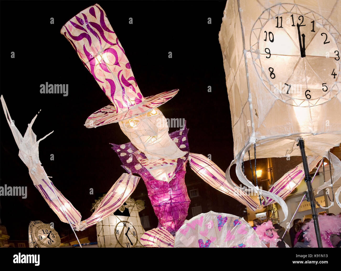Old Father Time and Clock on the Burning of the Clocks Parade in Brighton - Stock Image