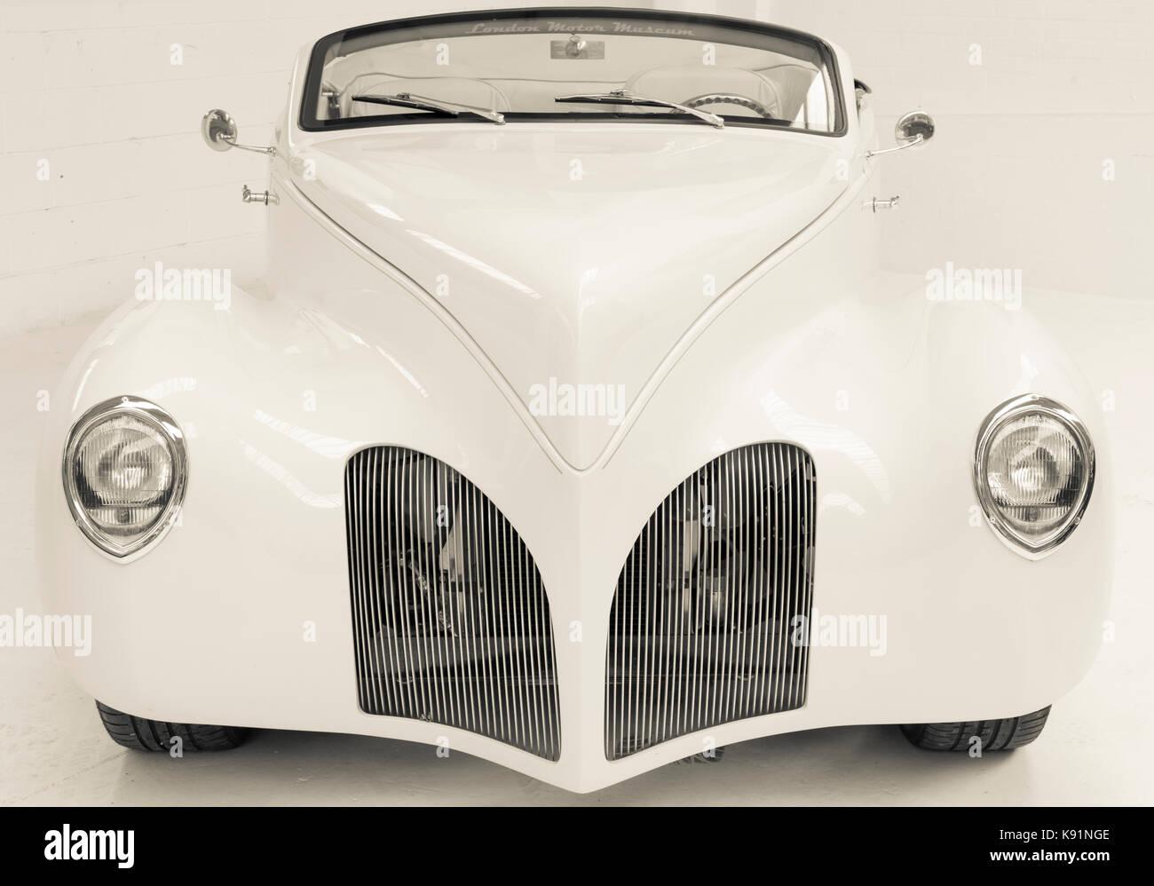 1939 Lincoln Zephyr Custom Car Chopped White Stock Photo