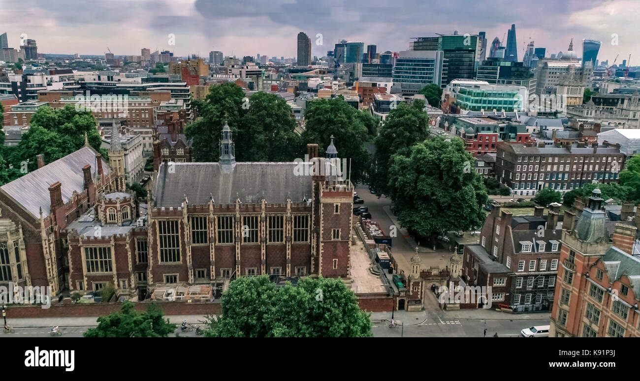 Aerial view of the skyline of the City of London from Holborn - Stock Image