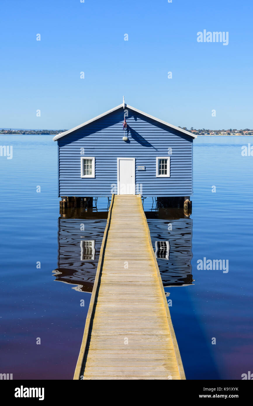 The Crawley Edge Boatshed also known as the Blue Boat House on the Swan River in Matilda Bay, Crawley, Perth, Western - Stock Image