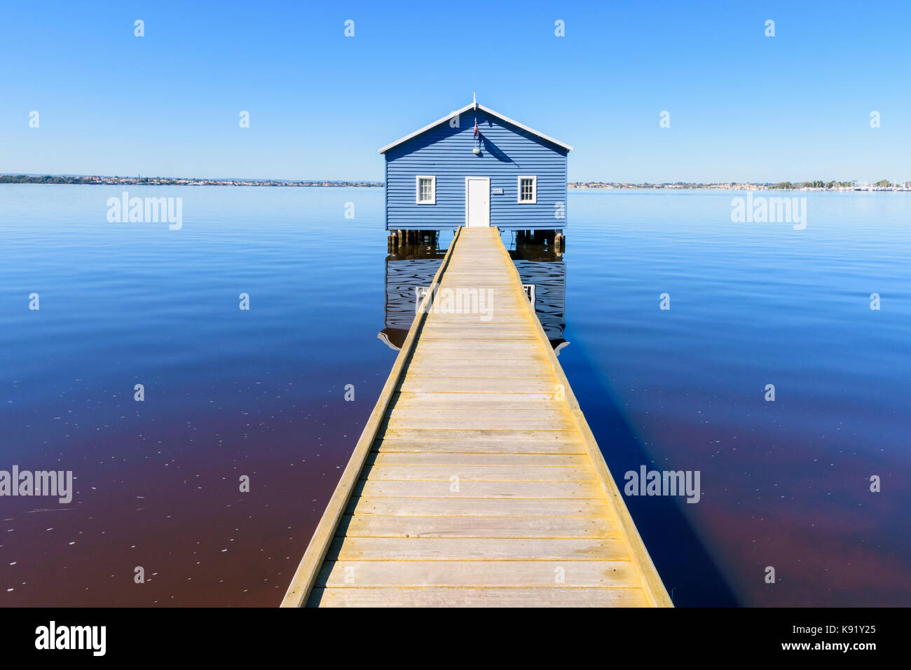 Crawley Edge Boatshed also known as the Blue Boat House on the Swan River in Matilda Bay, Crawley, Perth, Western - Stock Image
