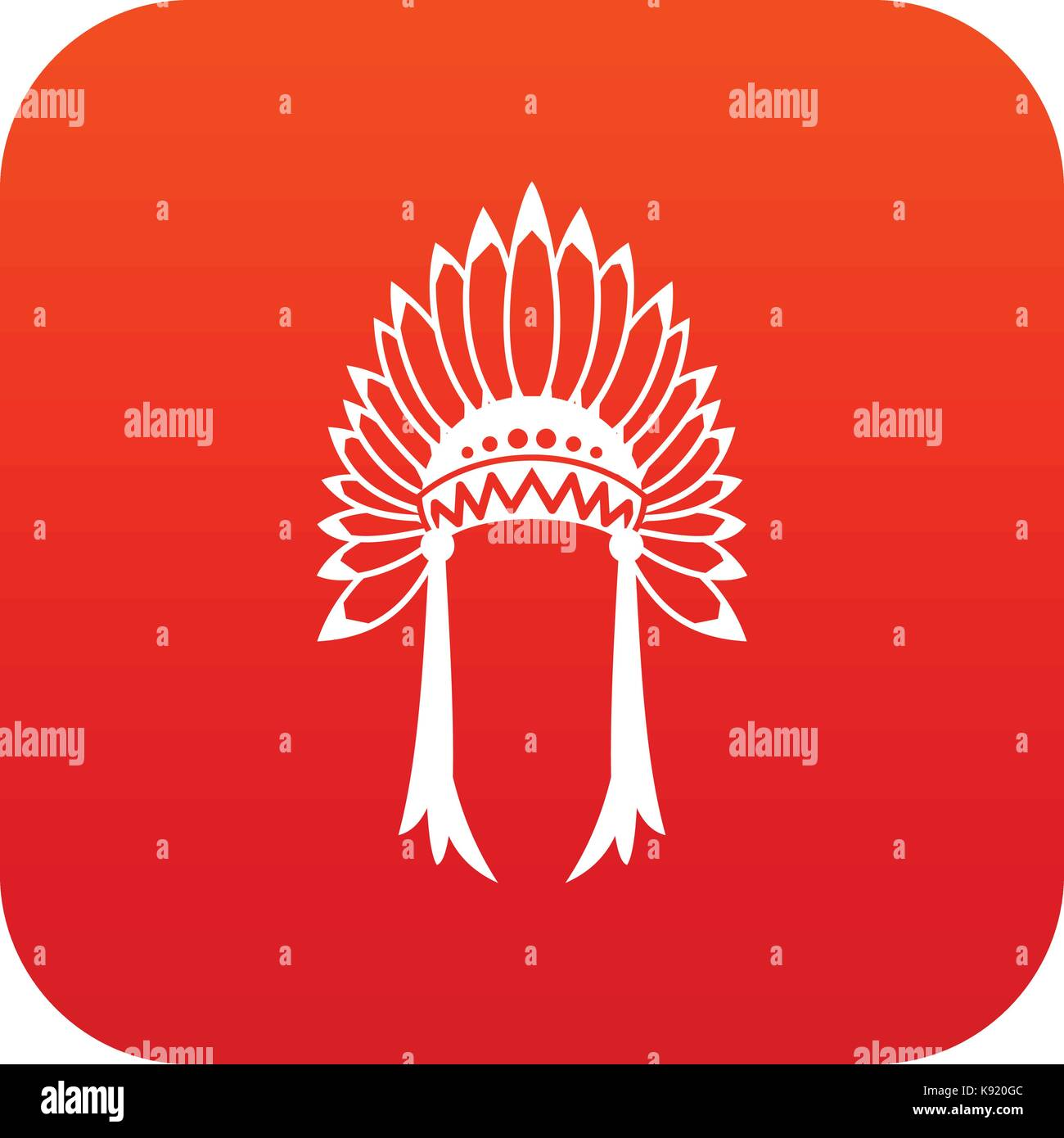 Indian headdress icon digital red - Stock Image