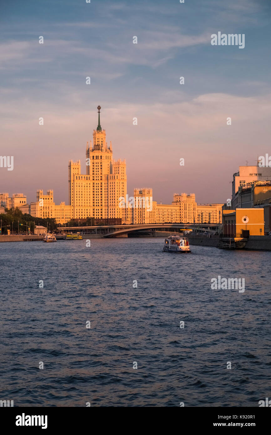 View of the Moscow landmark Kotelnicheskaya Embankment Building, a skyscraper from the Stalinist era alongside the - Stock Image