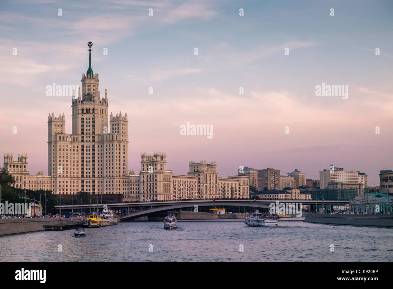View of the Kotelnicheskaya Embankment Building, a landmark skyscraper from the Stalinist era alongside the Moskva - Stock Image