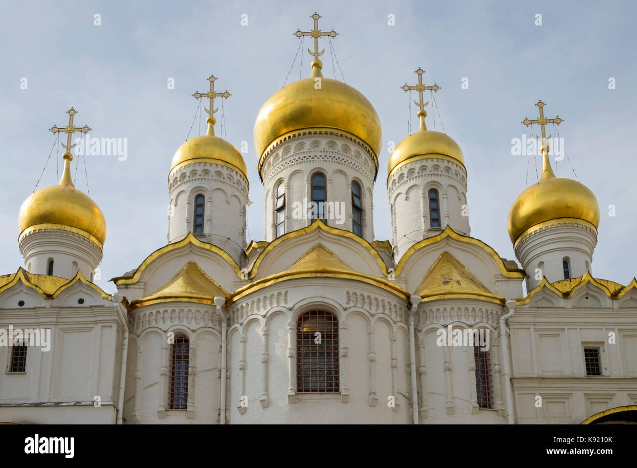 Architectural detail and cupolas of the Cathedral of the Annunciation, Sobornaya Ploshad (Cathedral Square), The - Stock Image