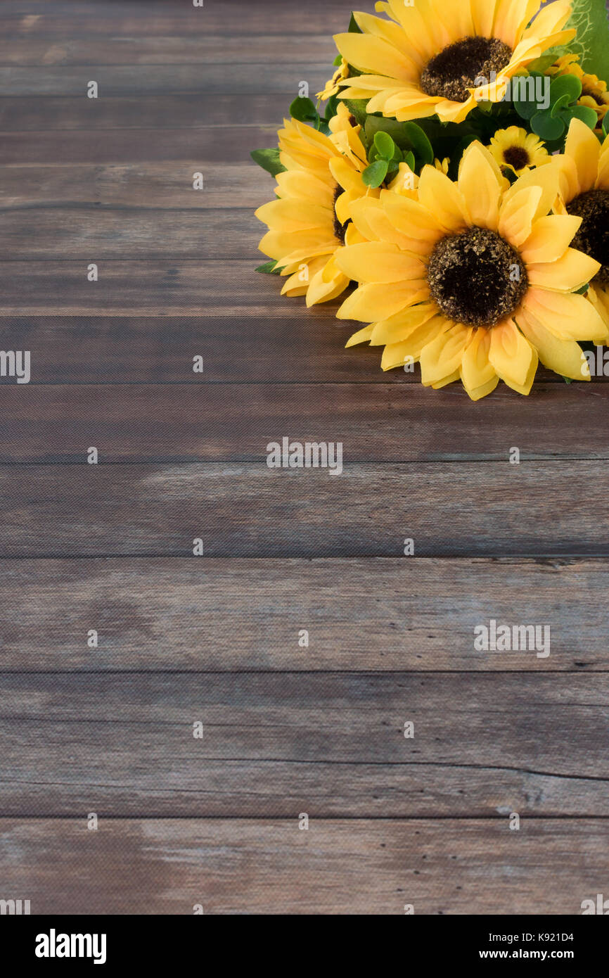Sunflower Bouquet On Dark Brown Wooden Background With Lots Of Copy Stock Photo Alamy