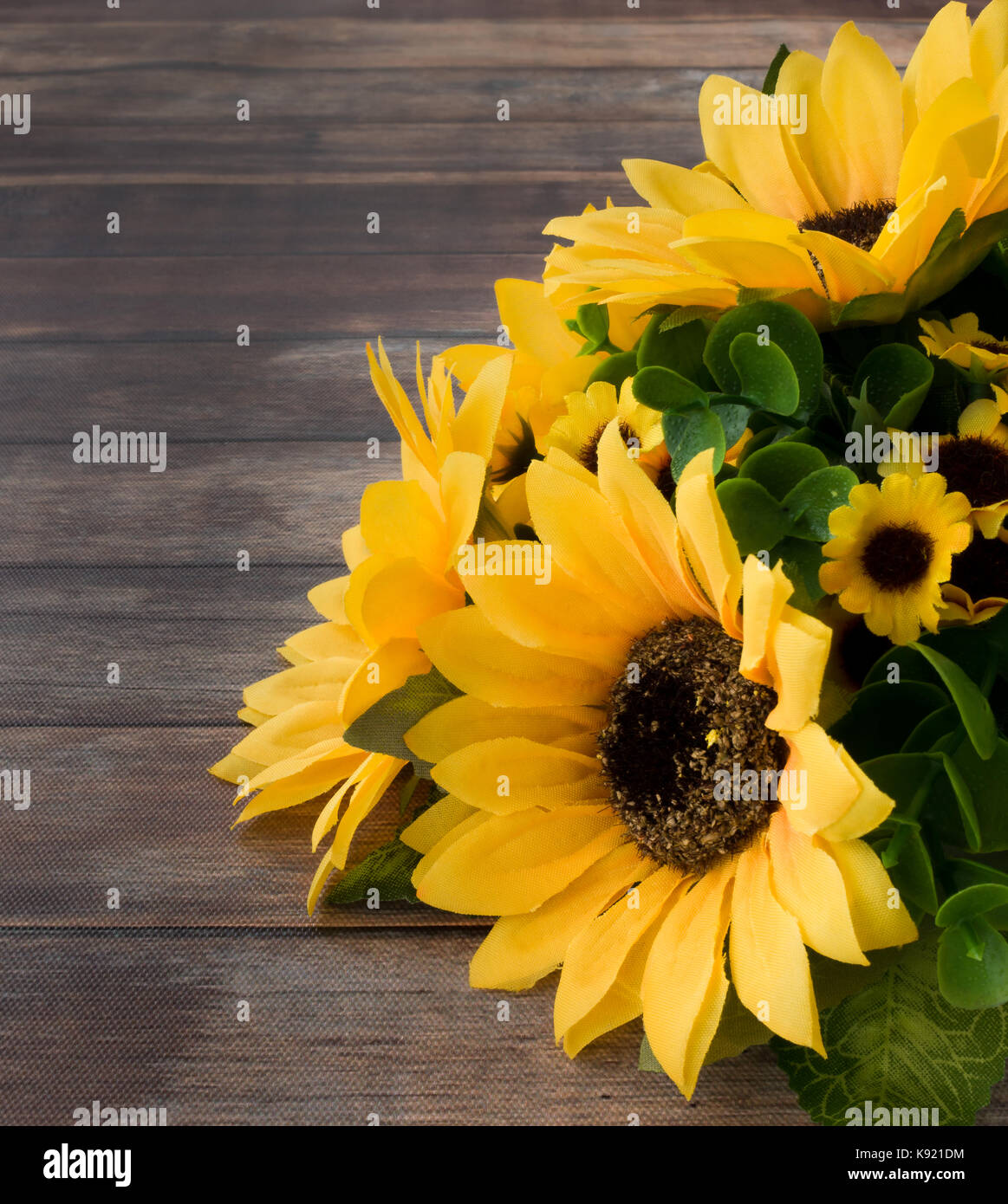 Closeup Of A Sunflower Bouquet On Dark Brown Wooden Background With Lots Copy Space