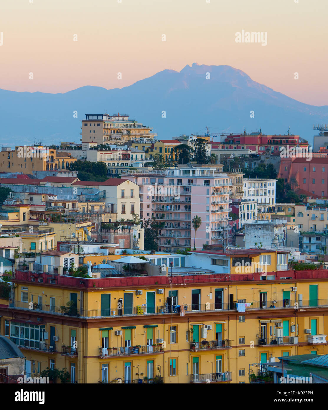 View of beautiful Old Town of Naples at twilight. Italy - Stock Image