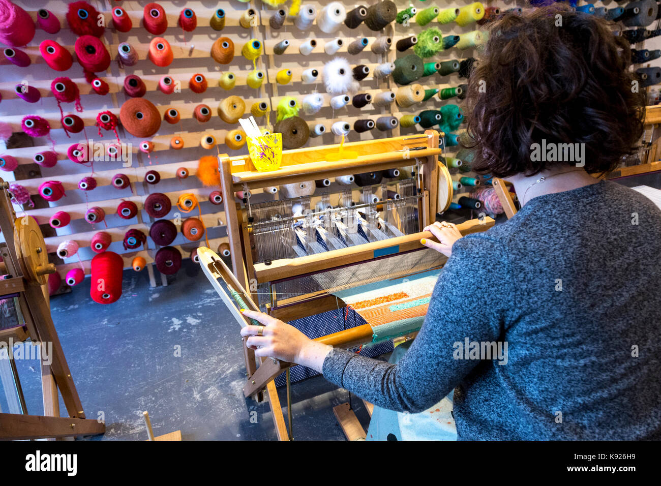 North London weaving workshop produces shawls and house commodities on August 19, 2017 - Stock Image