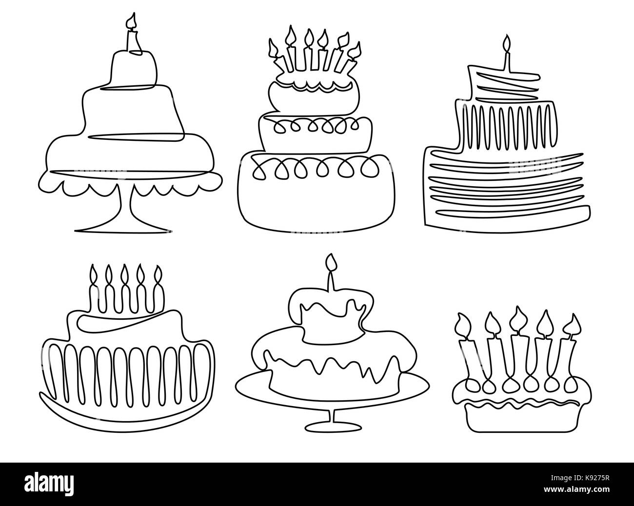 Birthday Cake One Line Drawing Stock Vector Art Illustration