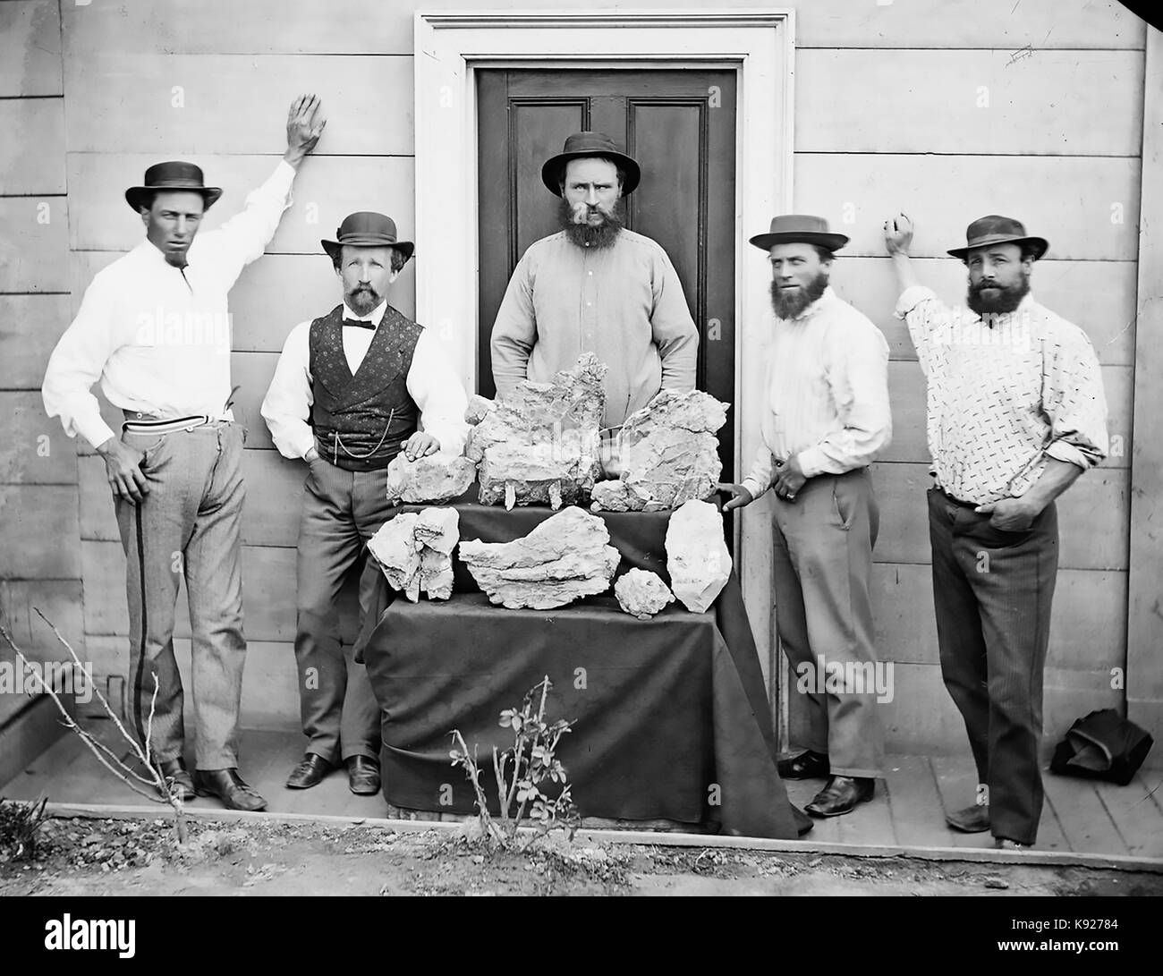 STAR OF HOPE MINE workers at Hill End, New South Wales, Australia about 1875. Photo: State Library of NSW - Stock Image