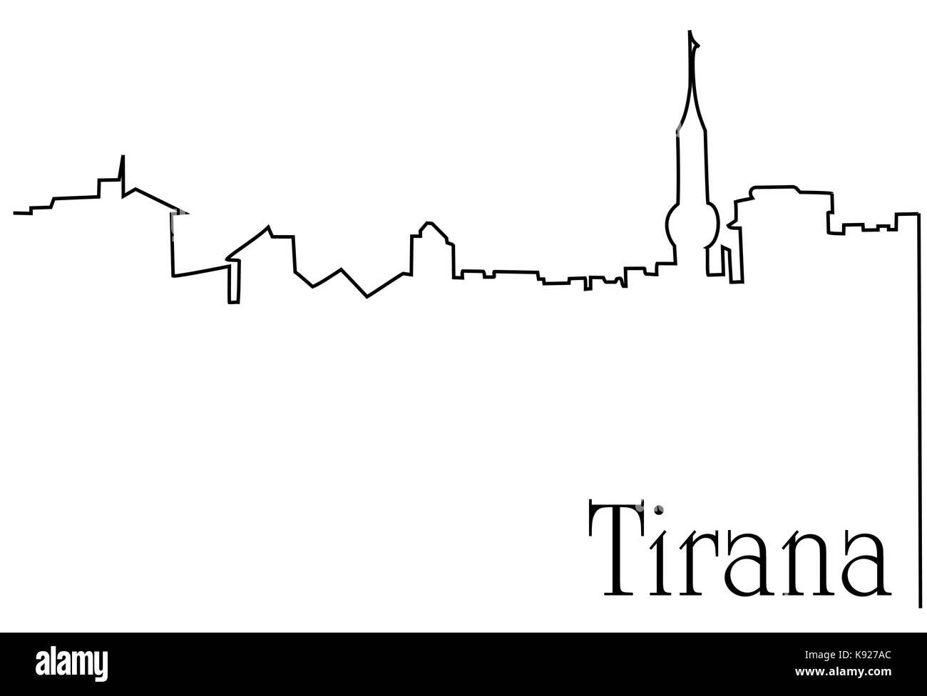 Tirana city one line drawing - Stock Vector