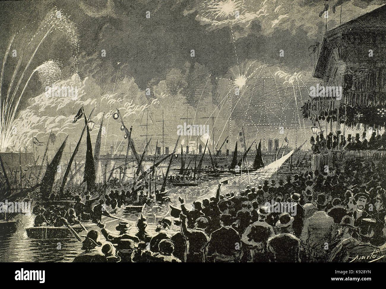Spain. Catalonia. 1888 Barcelona Universal Exposition. Audience at the sea spectacle held during the town's - Stock Image