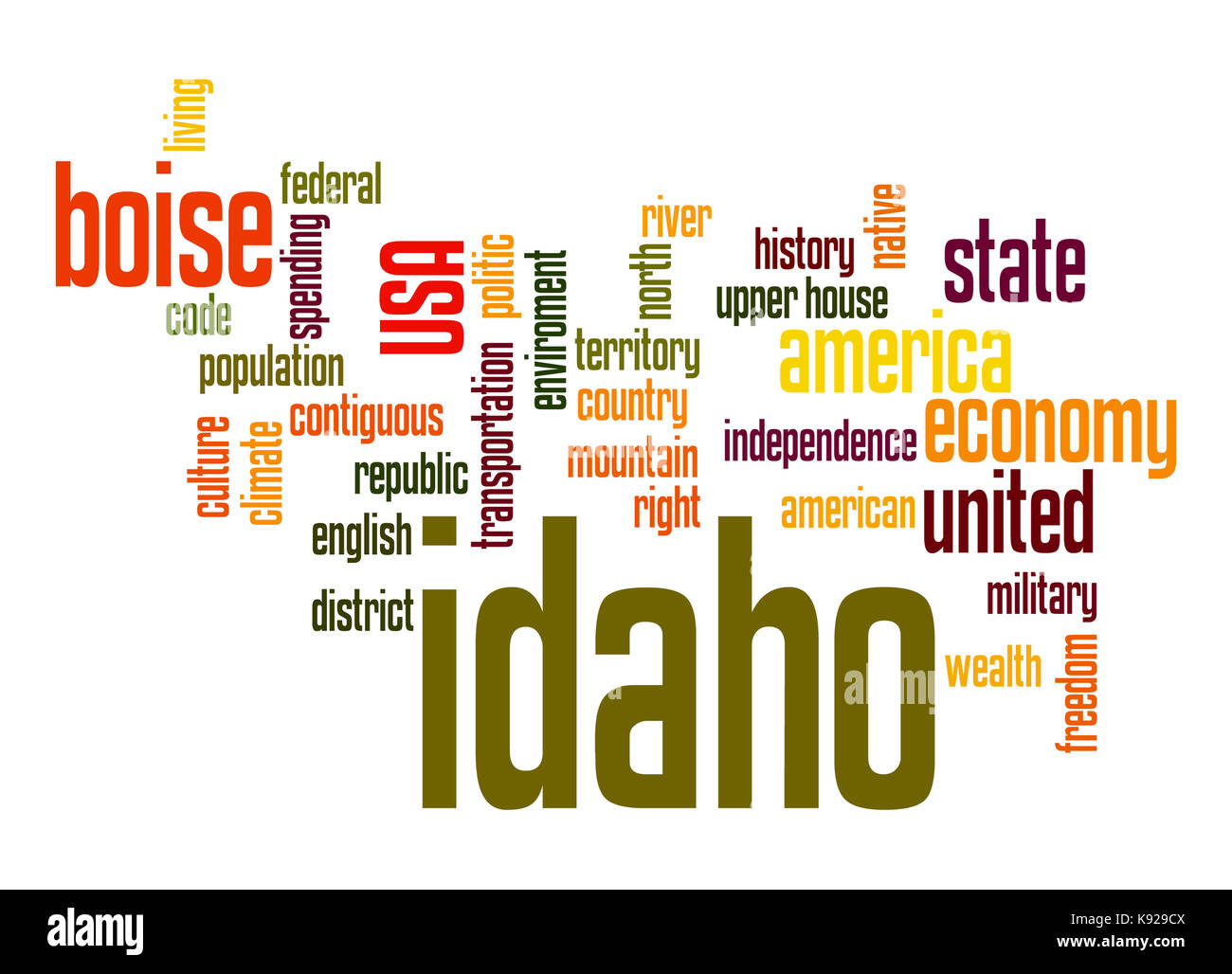 Idaho word cloud - Stock Image