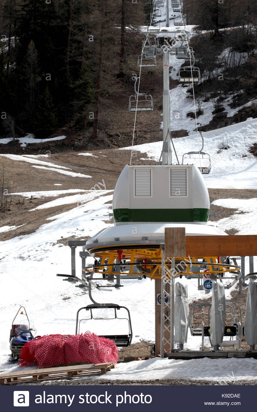 closed ski chairlift at the end of skiing season Stock Photo