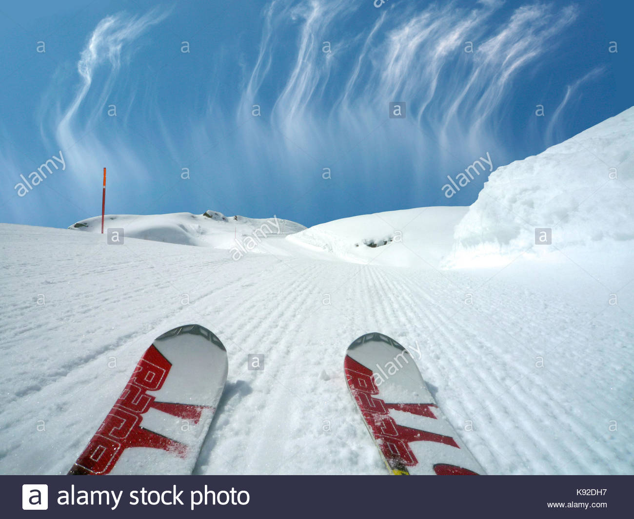 ski tips on a slope at Monte Rosa Ski Valle d'Aosta Italy - Stock Image