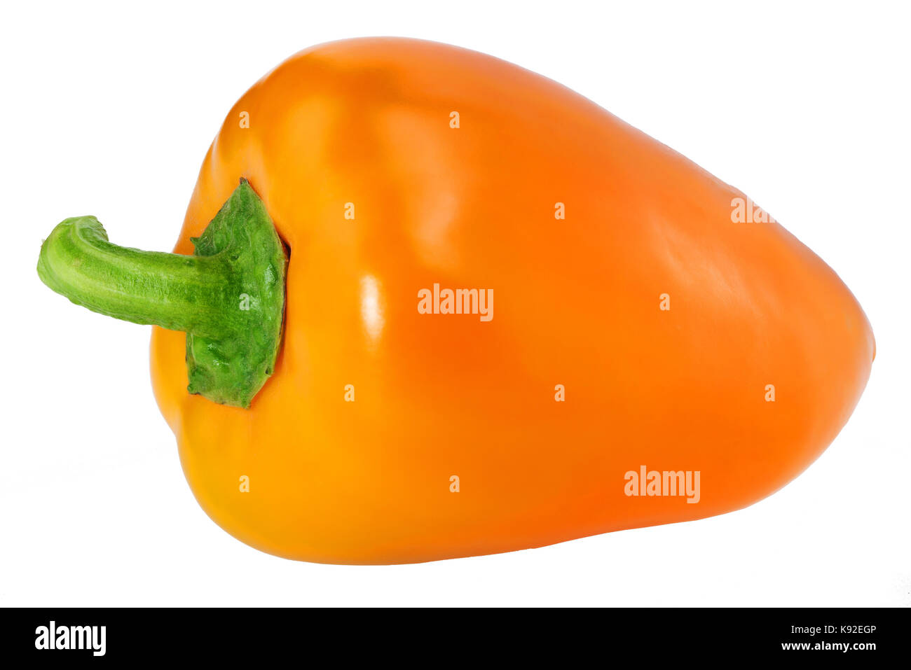 An orange pepper, isolated on white clipping path - Stock Image
