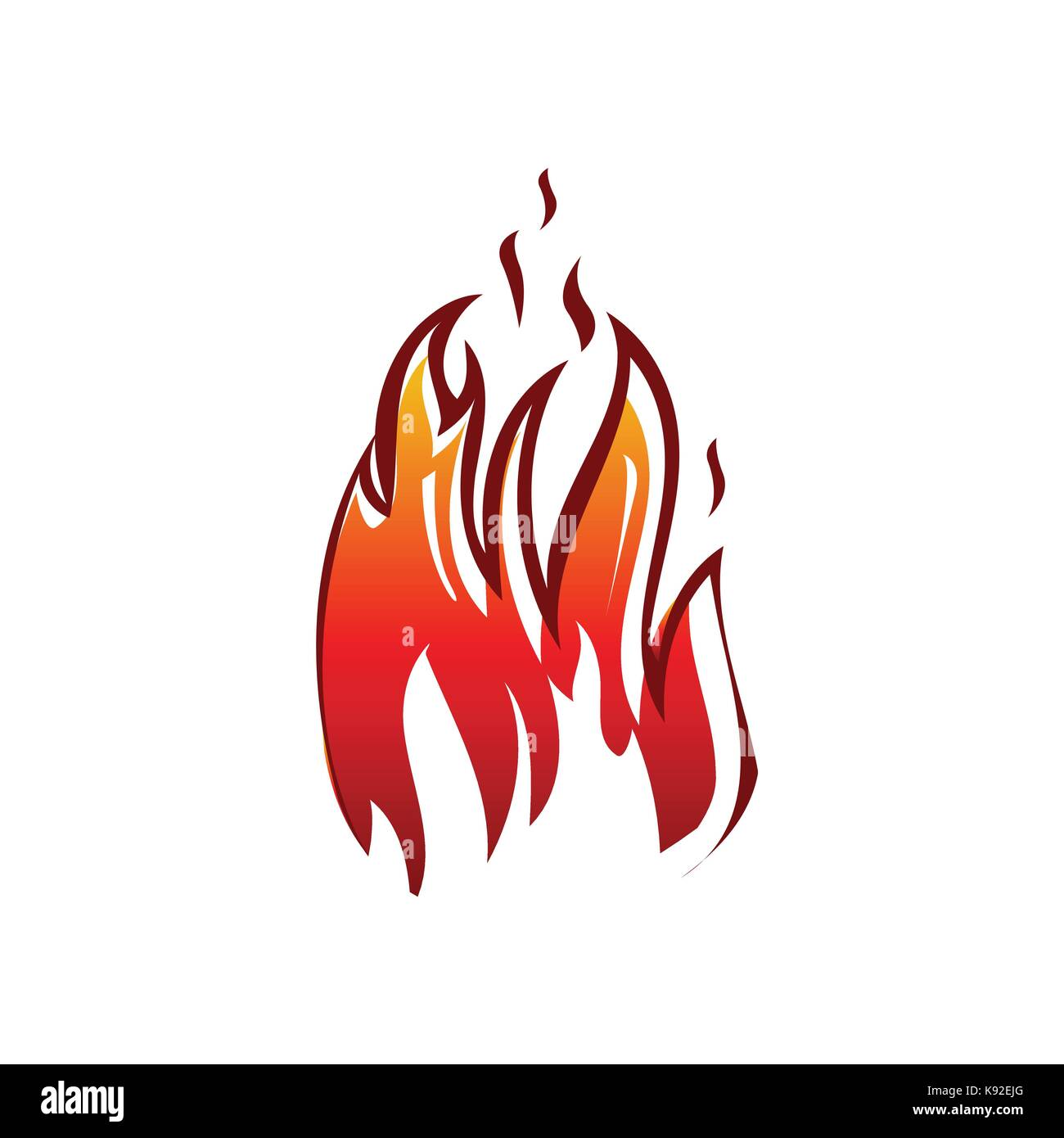 bold flame illustration, flame icon, symbol design, isolated on white background. - Stock Vector