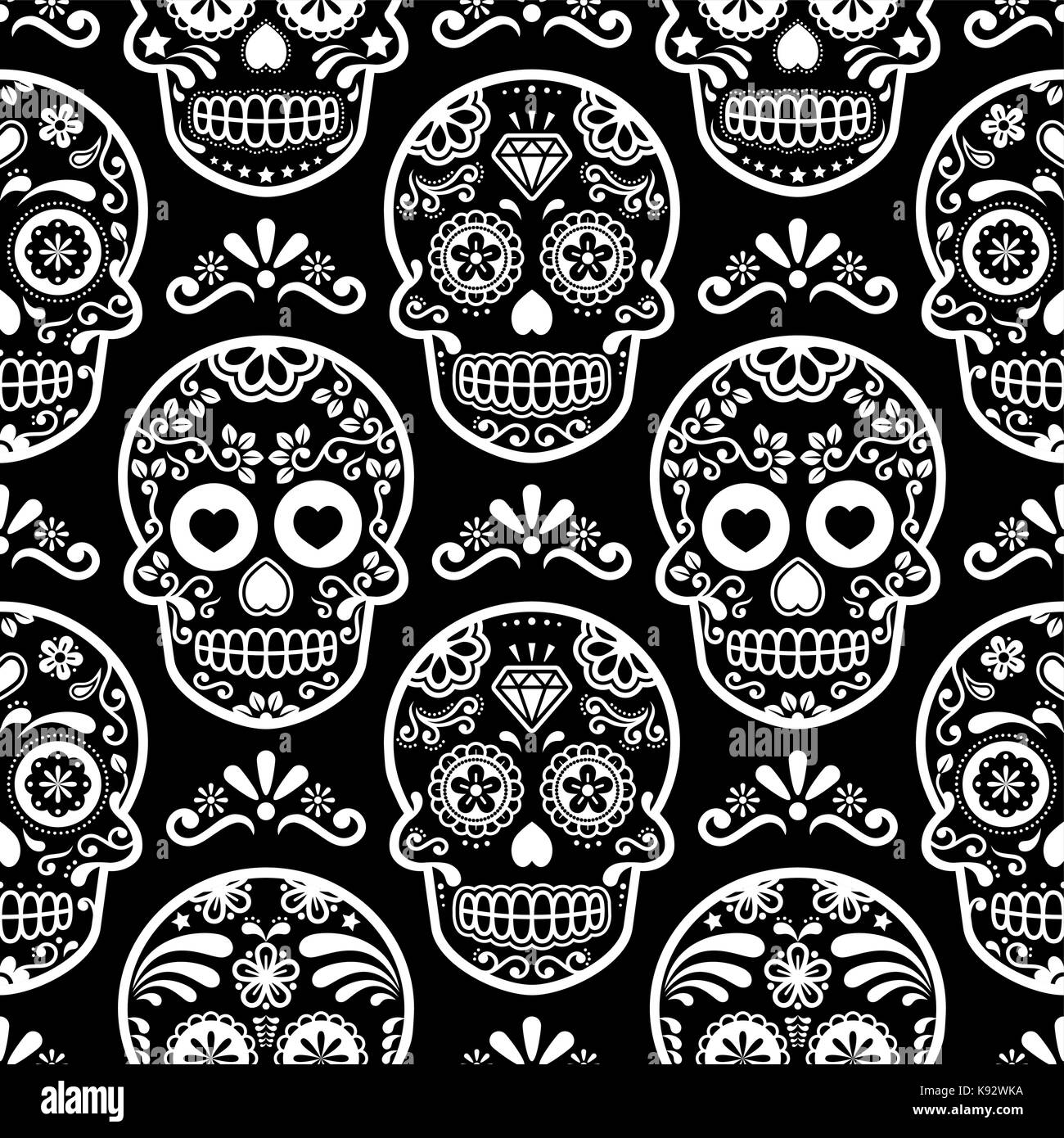 53b53f3ae4f Halloween skull vector seamless pattern, Mexican cute black skulls ...