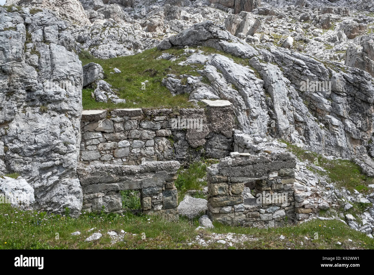 The Dolomites, Northern Italy. First World War fortifications on the front line between Italy and Austria, along - Stock Image