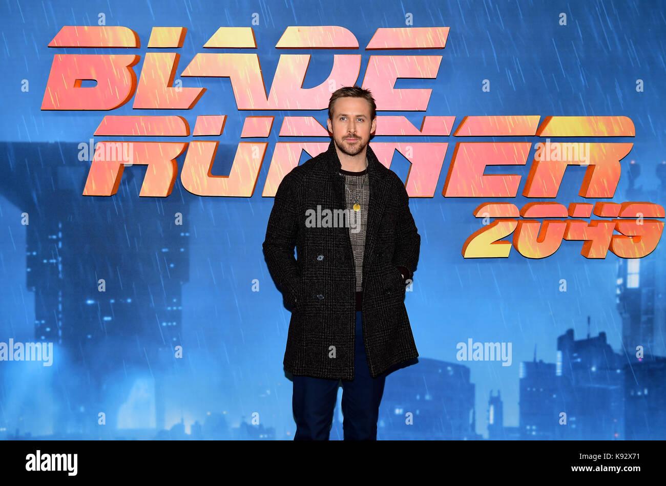 Ryan Gosling attending the Blade Runner 2049 photocall at the Corinthia Hotel, London. - Stock Image