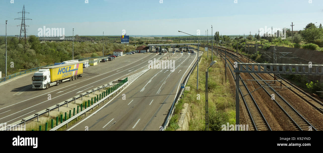 Romania, Contanta, Fetesti, A2 Motorway toll station and railway line Stock Photo