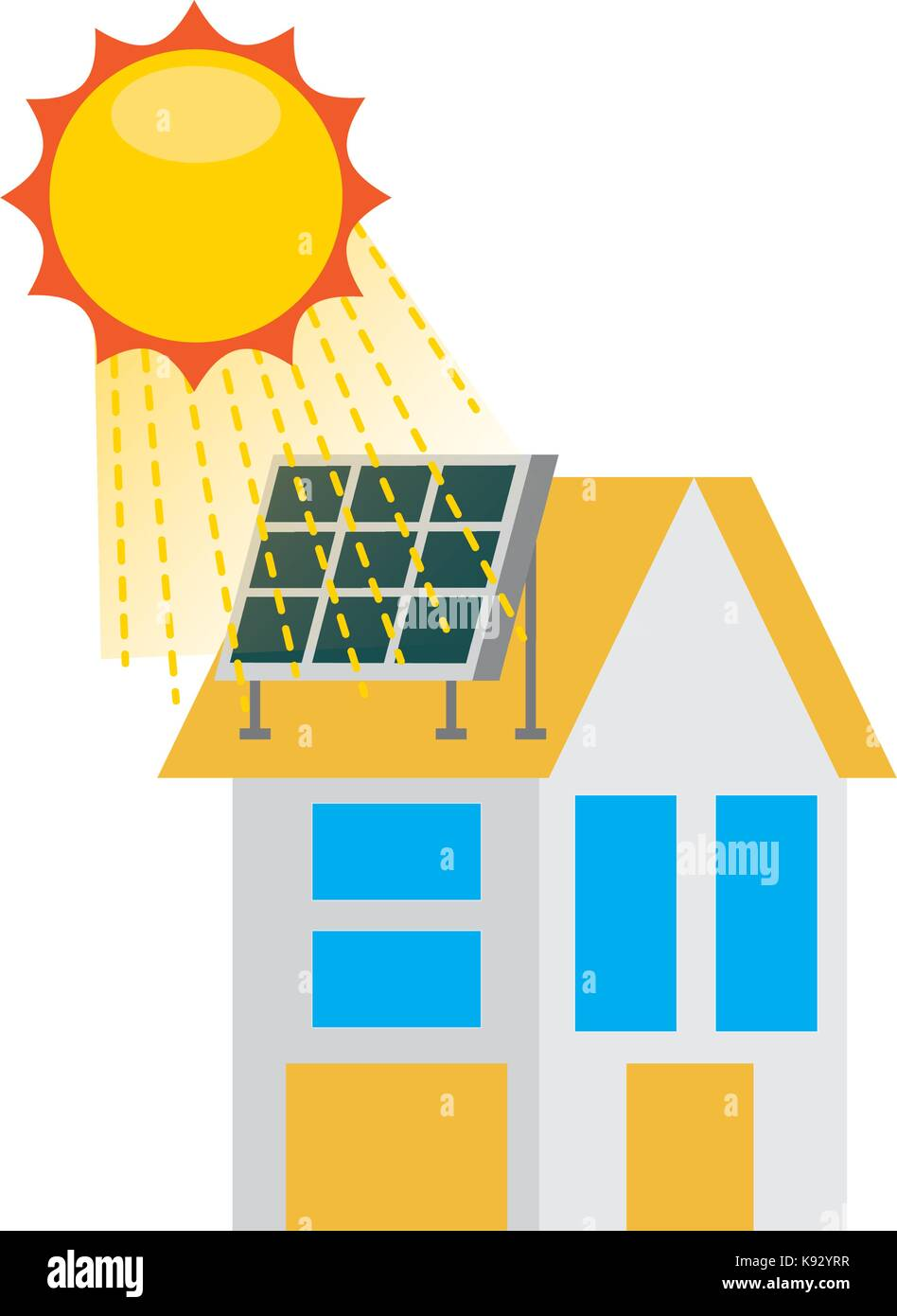 house with solar roof panels for real estate - Stock Vector
