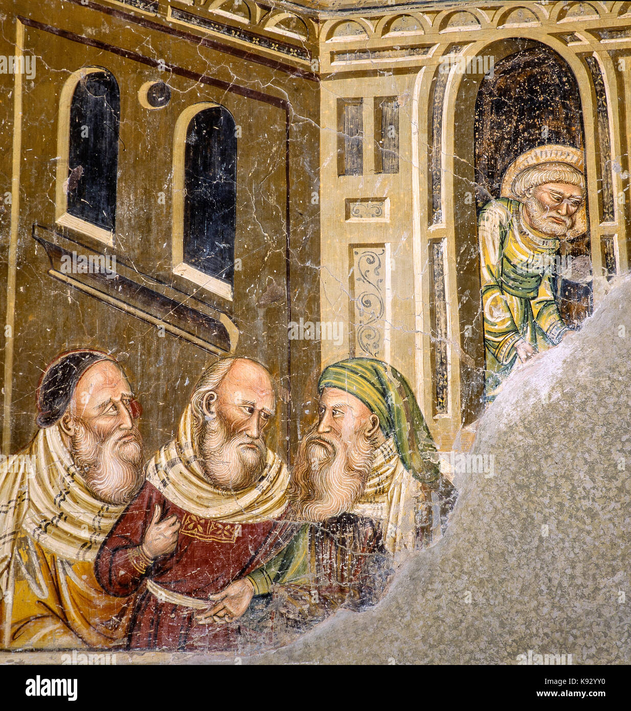 Italy Abruzzo Loreto Aprutino  Santa Maria In Piano church -iuniversal Judgment - the three patriarchs - Abraham, - Stock Image