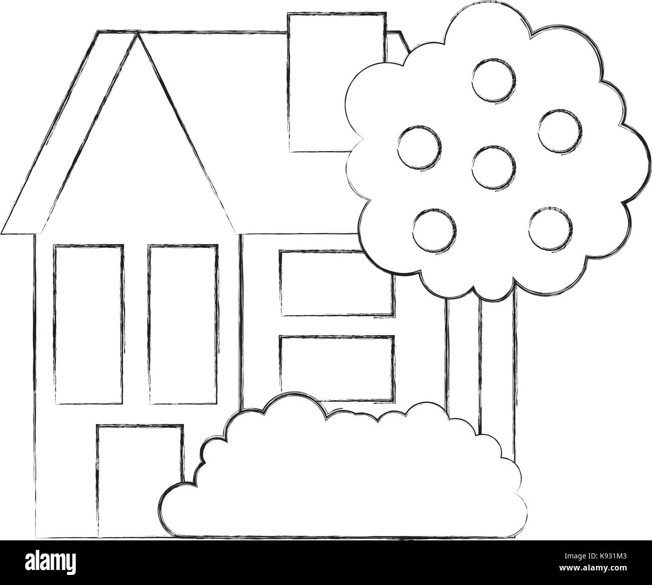 house fruit tree residence property real estate architecture - Stock Vector