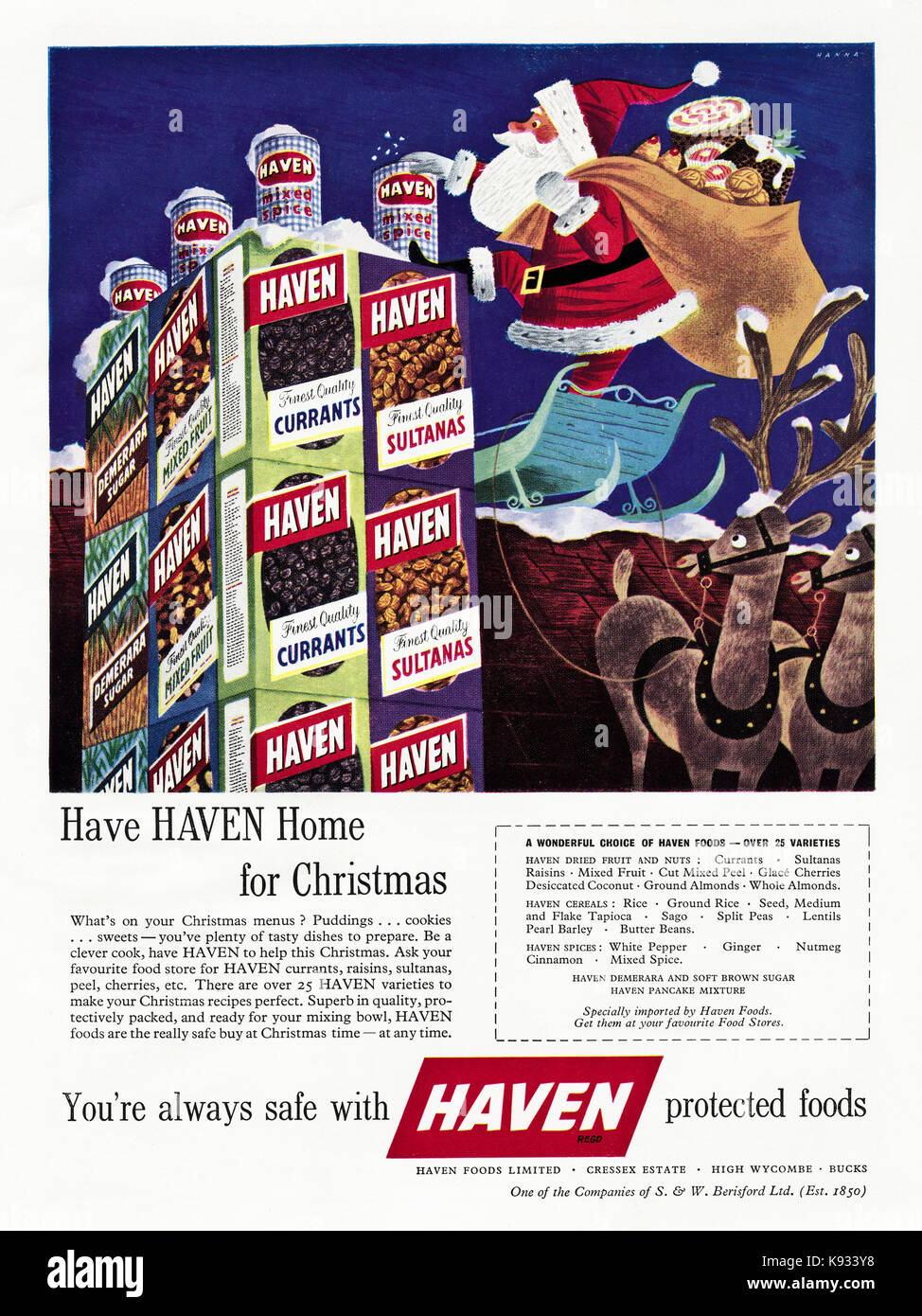 1950s old vintage original british magazine advert advertising Haven protected foods for Christmas dated 1958 - Stock Image