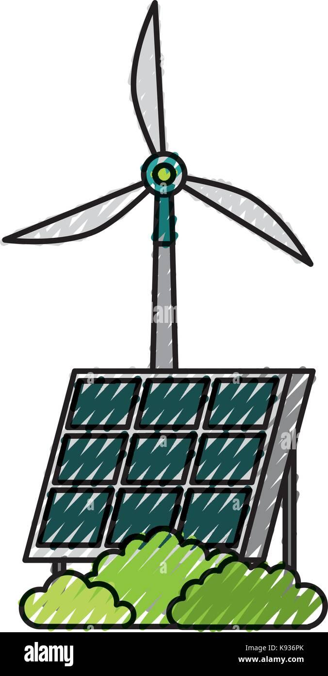 solar panel windmill alternative energy sources - Stock Image