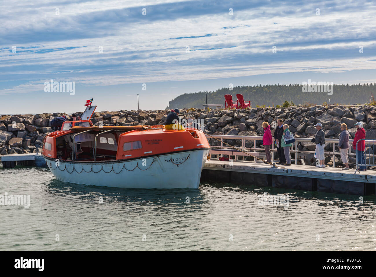 MV Marco Polo's tender boat at Havre-Saint-Pierre, Canada - Stock Image