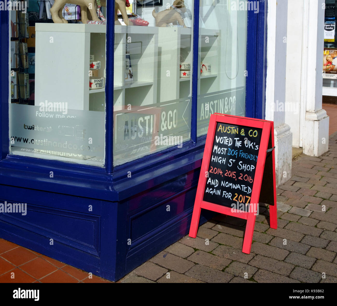 Around Great Malvern, a small country town in worcestershire England UK Austin & co shop - Stock Image