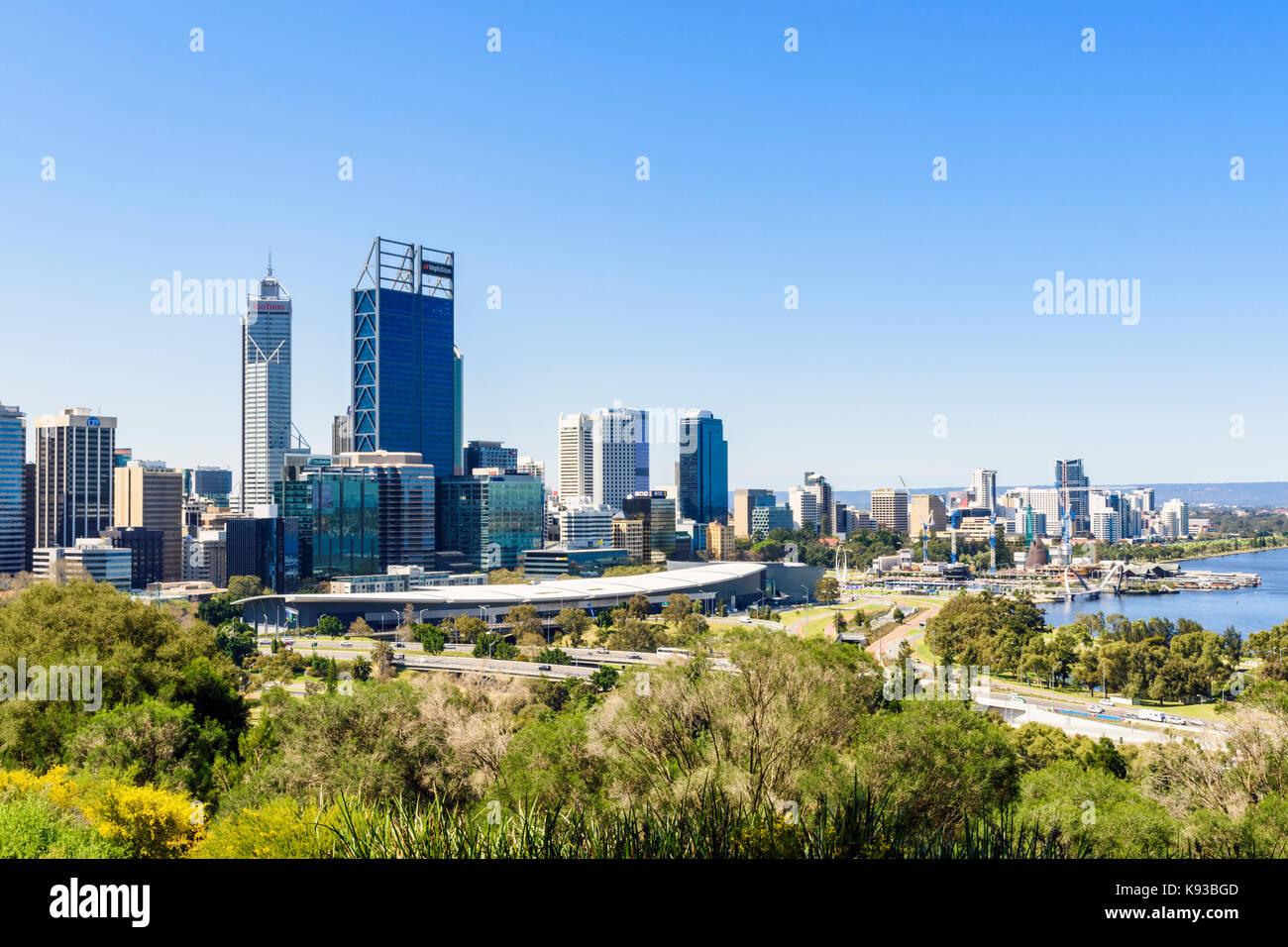 View of the Perth city CBD from Kings Park, Western Australia, Australia - Stock Image