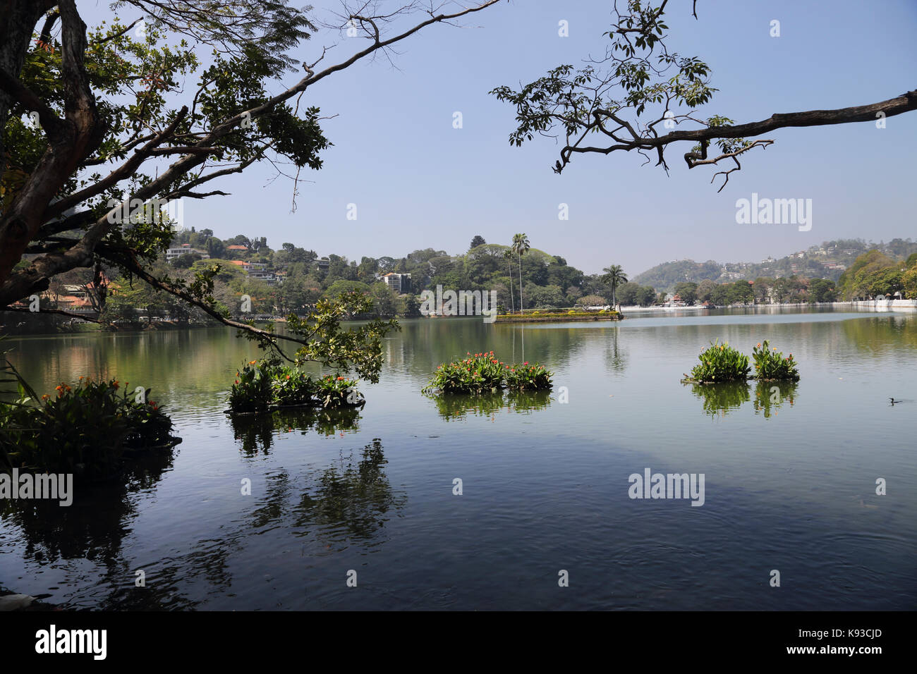 Kandy Sri Lanka Kandy Lake Kiri Muhuda By Temple of the Sacred Tooth Relic - Stock Image