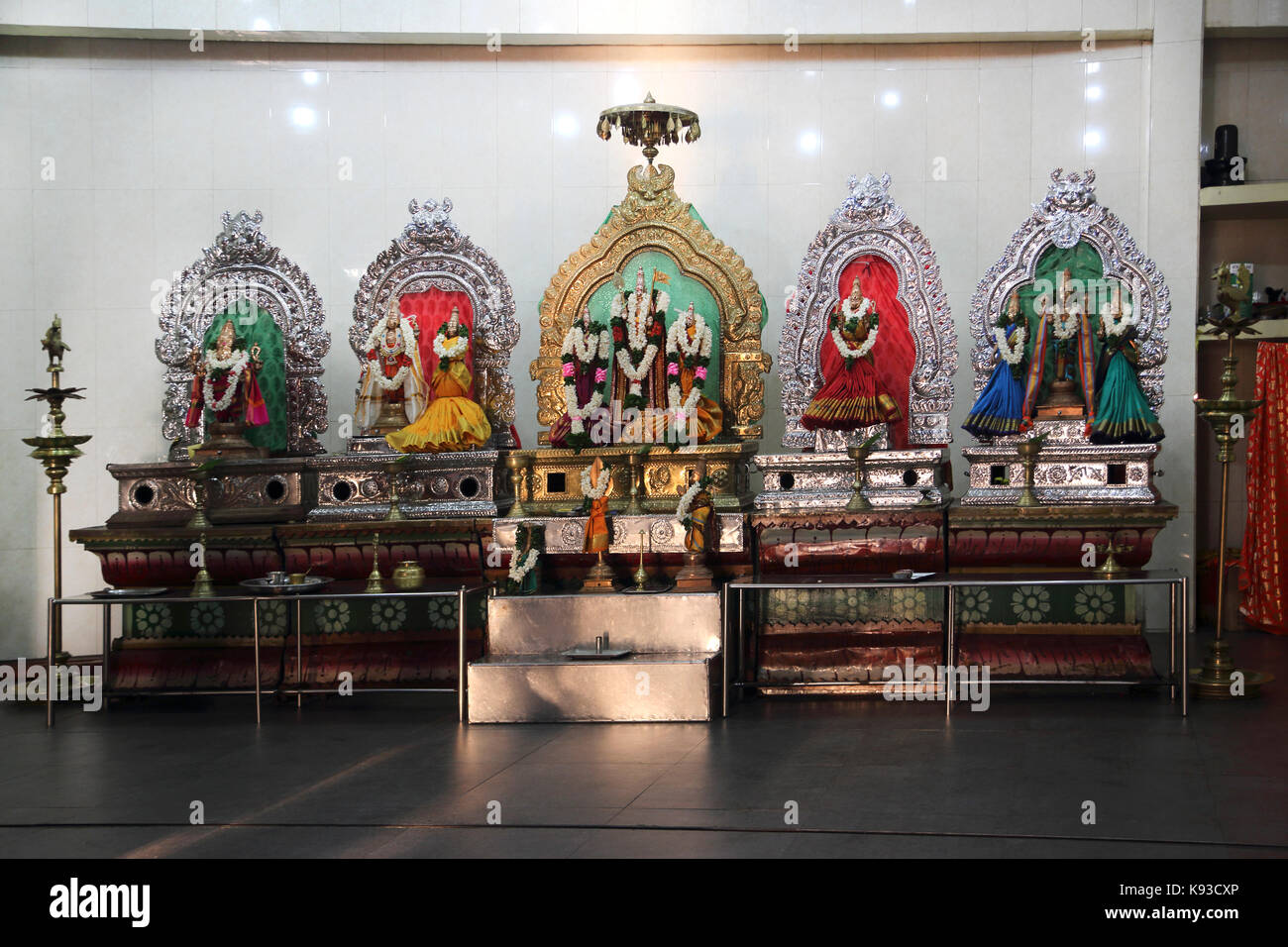 Pettah Colombo Sri Lanka New Kathiresan Kovil Temple Dedicated To War God Murugan Statue Of Hindu Gods - Stock Image