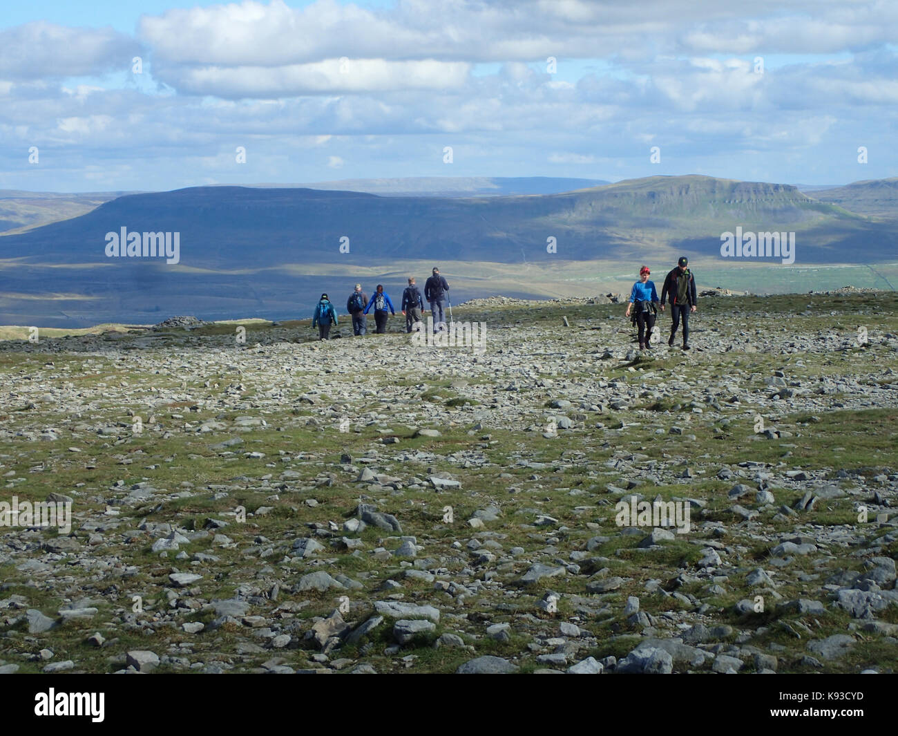 Penyghent from Ingleborough, two of the Yorkshire Three Peaks, Yorkshire Dales National Park, Yorkshire, England - Stock Image