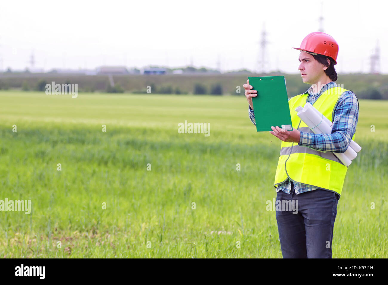 construction two man in the field - Stock Image