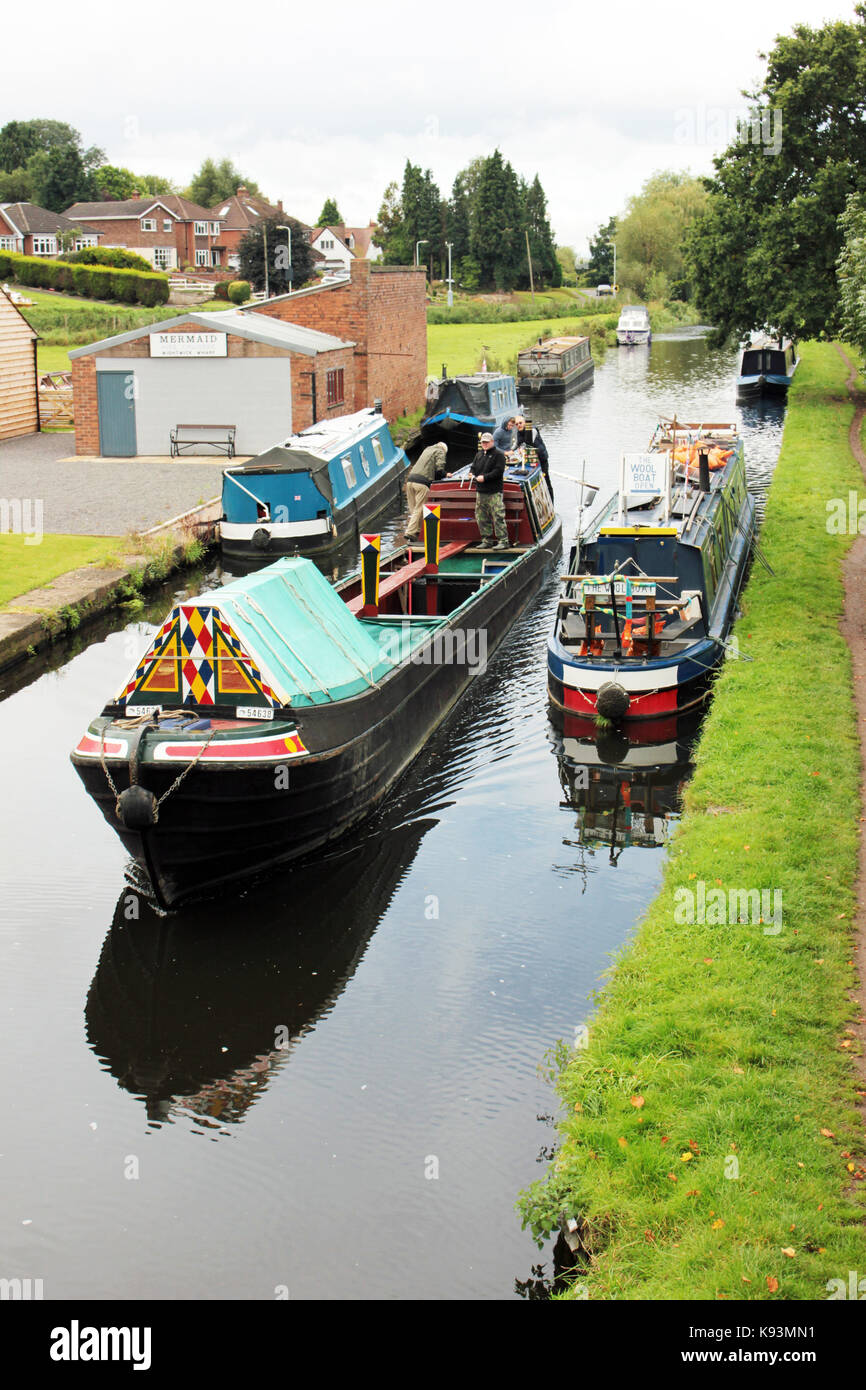 """""""Emma Maye"""" aka The Wool Boat moored along the towpath of the Staffordshire and Worcestershire canal at Wightwick. Stock Photo"""